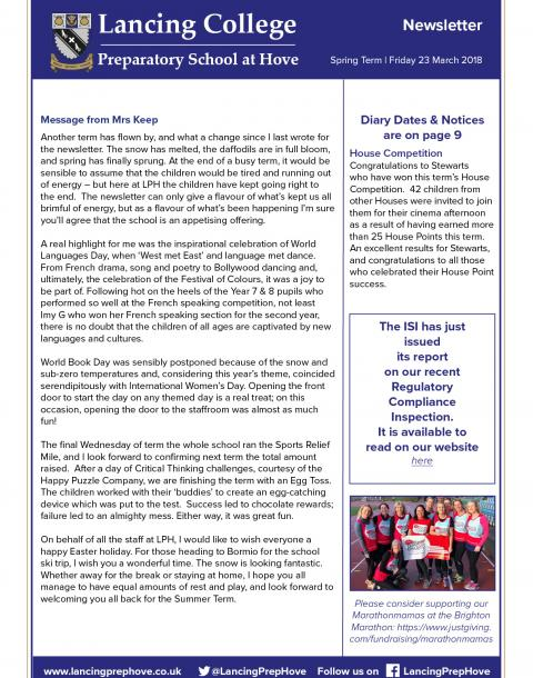 The final Spring Term newsletter from Lancing Prep Hove