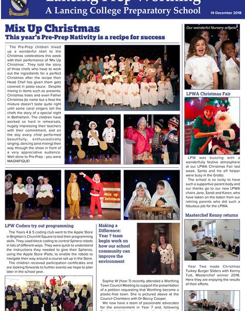 Lancing Prep Worthing  News Bulletin 13 12 18