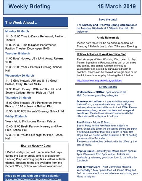 Lancing Prep Worthing Briefing and News Bulletin 15 03 19