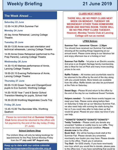 Lancing Prep Worthing Briefing and News Bulletin 21 06 19