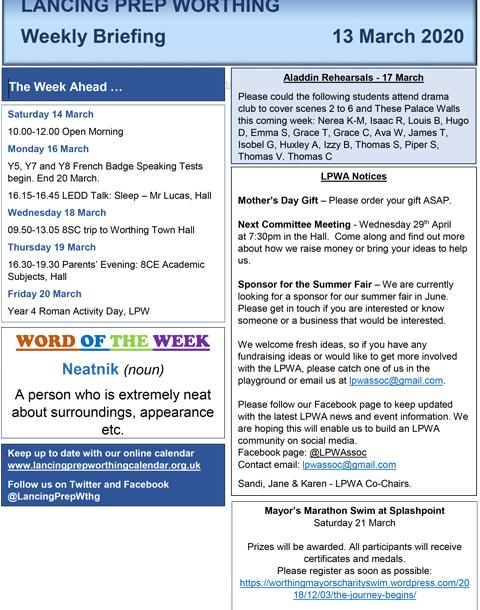 LPW News Briefing and Bulletin 13 03 20