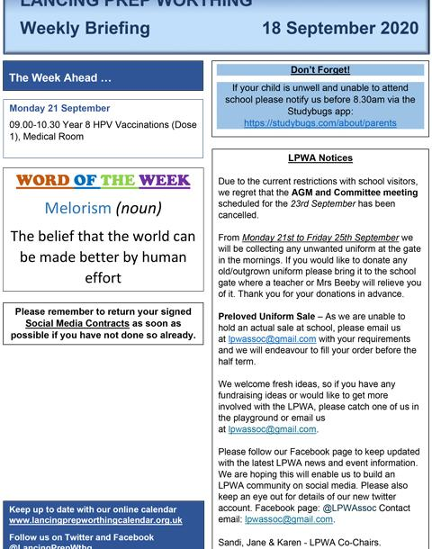 The LPW weekly news briefing and the first news bulletin of the school year
