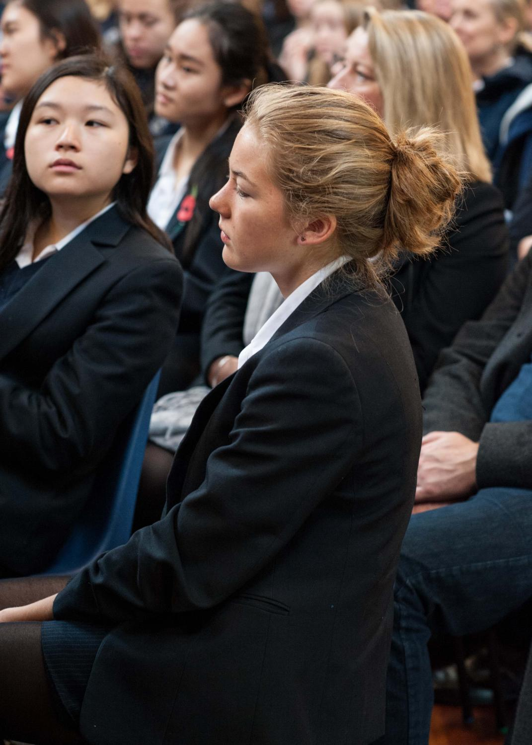 Students listen to speakers at the Careers Fair at Lancing College