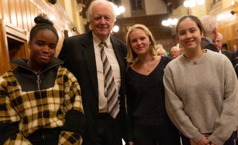 Sir Tim Rice with pupils