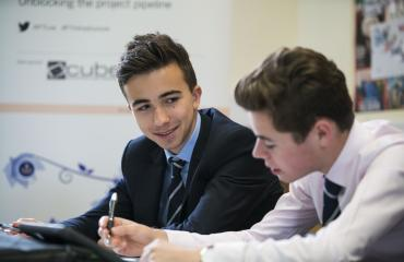 Students of Business & Economics in a classroom at Lancing